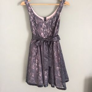 Dresses & Skirts - Grey/Pink Lace Homecoming Dress